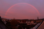 Pink rainbow during